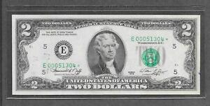1976 E STAR - $2 AU * Off Center + Fancy Low # 000.51304 * Replacement Note