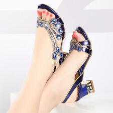 Womens Party Rhinestones Slingbacks Sandals  Block Mid Heel Pumps Open Toe Shoes