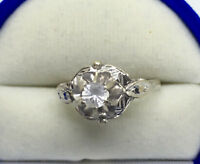 Antique 18K white gold ring with fancy filigree; size 6