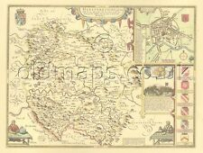 Herefordshire Hereford Replica Old Speed map c.1610 Full Size Print UNIQUE GIFT!