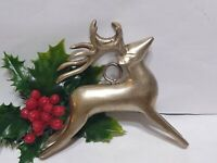 "Vintage Christmas Ornament REINDEER SILVER 4 1/2"" Great Patina"