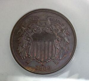 1869  MS64 BRN   ANACS Two Cents  Super  Coin  Shows Some RED Great Type Coin