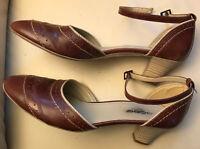 Pieces Pumps braun mit Fessel-Riemen Gr. 41 edel chic Schuhe ca. 5cm Absatz