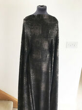 Dressmaking Fabric Black with Bronze Foil Effect Jacquard  Stretch Jersey