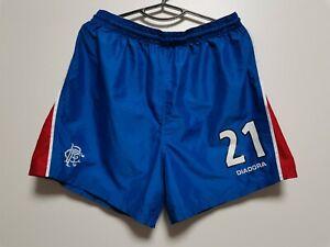 SIZE L GLASGOW RANGERS 2003-2005 HOME FOOTBALL SHORTS DIADORA #21