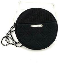 Vera Bradley Bag Purse Handbag Solid Black Crossbody Quilted Round Silver Chain