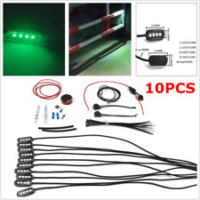10PCS 4 LED Rock Light Underbody Green Fog Lamp Set For Jeep SUV Truck Boat RV