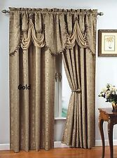 "Luxury, PORTOFINO window curtain: jacquard Panel  84"" long OR fringed valance,"