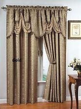 """Luxury  PORTOFINO window curtain jacquard Panel 84"""" long OR fringed valance"""