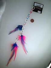 Handmade USA Feather Hair Extensions ONE OF KIND Chain Orange Blue Punk CLIP ON