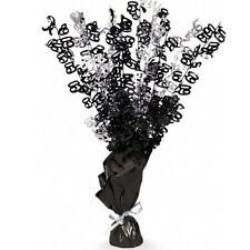 """16"""" Happy 60th Birthday Black Sparkle Foil Weight Table Centerpiece Decoration"""