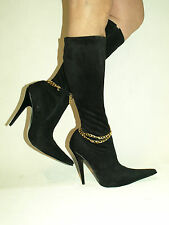 """BLACK OR RED PATENT SUEDE HIGHS BOOTS SIZE 6-16 HEELS-5,5""""-PRODUCER POLAND"""