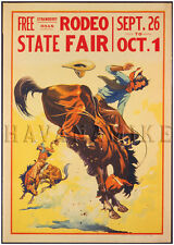 1930 Rodeo Bucking Bronco Vintage Repro Horse Art Print Poster 18x24