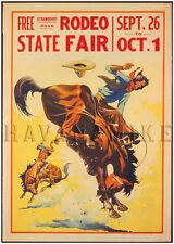 1930 Rodeo Bucking Bronco Vintage Repro Horse Art Print Poster 18x24