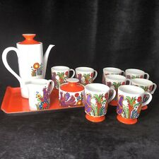 Vintage Jonas Roberts Tea Coffee Pot Set China Tray Orange Retro Mod 14 pc Japan
