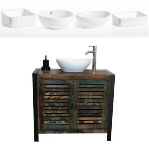 Reclaimed Wood Bathroom Vanity Unit 2 Door with White Ceramic Basin Choice