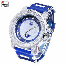 Hip Hop Iced Out Silver Plated Silicone Band Techno Pave Watches WR 7296 BL