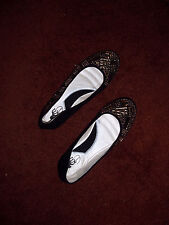 Womens Black Flats Size 7.5 Aida Gold Jeweled NEW