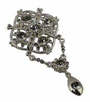 Silver Large Square Bridal Brooch Rhinestone Crystal Diamante Wedding Broach Pin