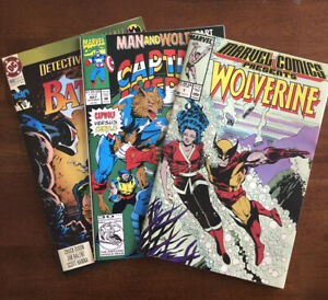 Comic Books Lot Of 3. Wolverine 02214, Man And Wolf 6/6, DC Knightfall Batman 4