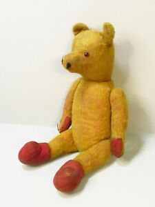 """Very Old 1920's Antique Mohair Teddy Bear 17"""" Loads Of Character - Straw Stuffed"""