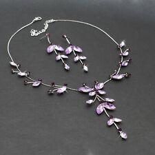 Schmuckset  Violett Lila Collier Halskette Ohrringe Schmetterling Blumen Design