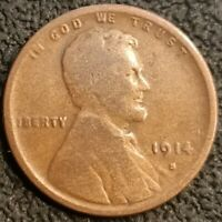 1914 S Lincoln Wheat Cent Penny 1c Semi Key Better Date VG Very Good Coin P2212