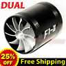"2.5""-2.9"" Air Intake Dual Fan TURBO Supercharger Turbonator Gas Fuel Saver BLACK"