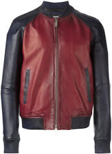 New DSQUARED2 Contrasted Leather Bomber Jacket, Red and Blue EU 48 US 38 S $2645