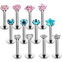 4PCS/Set 16G Crystal Tragus Lip Ring Ear Cartilage Stud Earring Bars Piercing_TB