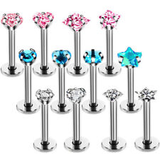 4PCS/Set 16G Crystal Tragus Lip Ring Ear Cartilage Stud Earring Bars Piercing_ti