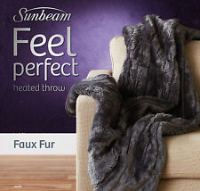 Sunbeam TR6100 Feel Perfect Faux Fur Heated Throw with 9 Heat Settings - Grey