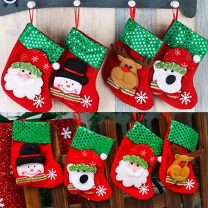 1PC Stocking Christmas Santa Claus Sock Candy Bag Plaid Burlap Holder Tree Decor