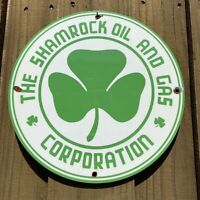 VINTAGE SHAMROCK OIL PORCELAIN SIGN OIL LUBE GAS STATION PUMP PLATE IRISH CLOVER