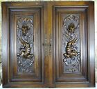 Pair Antique French Carved Wood Doors Wall Panels Solid Walnut   Chimera