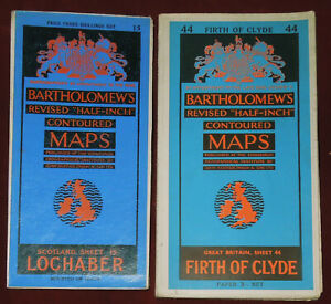 """2 BARTHOLOMEW'S REVISED 1/2"""" MAPS OF LOCHABER (1933) & FIRTH OF CLYDE (1955)"""
