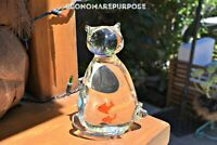 Vintage Murano Lead Crystal Glass Cat w/Goldfish in Belly Paperweight Figurine