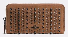 NWT Coach All Over Studs And Grommets Accordion Zip Wallet in Suede F53772