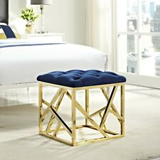 Contemporary Modern Tufted Velvet Geometric Metal Ottoman Bench in Gold Navy