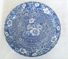 Antique Staffordshire Dark Blue White Transferware Bowl Gorgeous Urn of Flowers