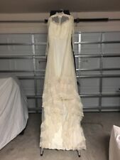 "Vintage Off White Wedding Dress Beautiful Lace & Satin 90"" in Lengh  No Veil"
