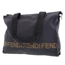 FENDI Logo Shoulder Tote Bag Black Nylon Canvas Vintage Italy Authentic #EE345 O
