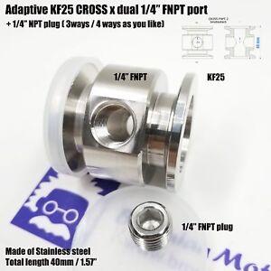 "Adaptive Cross KF25 flange vacuum adapter double middle 1/4"" FNPT port"