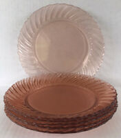 "Vintage Fortecrisa Pink Swirl Depression Style Glass Dinner Plates 9"" Set Of 6"