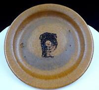 "JACOMENA MAYBECK SIGNED ART POTTERY EARTHTONE STONEWARE 8 1/4"" PLATE 1952 - 78"