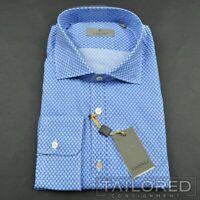 NWT - CANALI 1934 Recent Blue Polka Dot 100% Cotton Casual Dress Shirt - SMALL