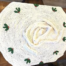 Hand Crocheted Christmas Tree Skirt With Applied Felt Holly & Berries