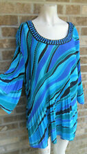 Women's Catherines Multi color 3/4 sleeve pleated Top / blouse Plus sz 2X 22/24W