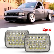 Full LED Hi+Low H6054 7x6 Headlight Clear Corner Bumper For 90-97 Nissan Pickup