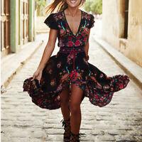 Women Floral Gypsy Short Sleeve Boho Dress Beach Evening Party Long Maxi Dress ~